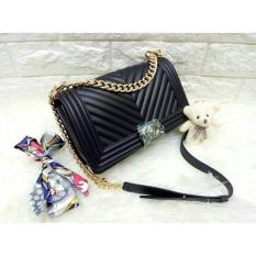 Tas Fashion Wanita JELLY MATTE CHEVRON BOY (black)
