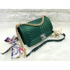 Tas Fashion Wanita JELLY MATTE CHEVRON BOY (green)