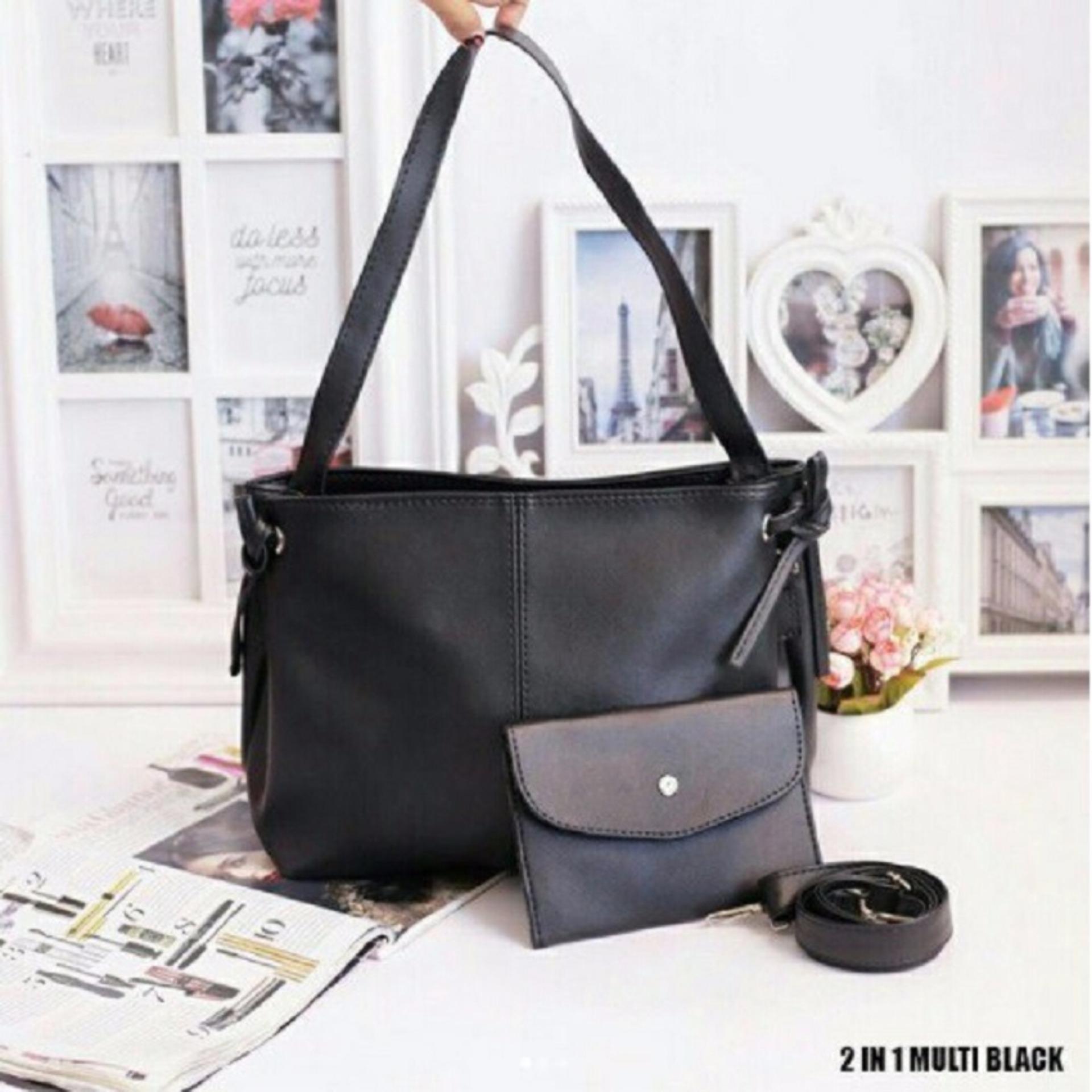Murah tapi bukan murahan Tas Fashion wanita Tote Bag 2 in 1 Multi - Black ca49b46b2c