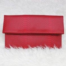 Tas Hand Tangan Women Woman Wanita Pesta Leather Clutch Bag - Merah