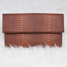 Tas Hand Tangan Women Woman Wanita Pesta Leather Clutch Bag - Moka