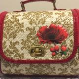Situs Review Tas Jinjing Anyaman Pandan Mini Suitcase Teknik Decoupage Motif Batik Mienani Crafts Merah