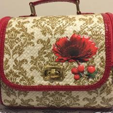 Cuci Gudang Tas Jinjing Anyaman Pandan Mini Suitcase Teknik Decoupage Motif Batik Mienani Crafts Merah