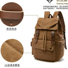 Tas Kerja Kanvas Mugu 6048 Coklat - Gemblok Serut - Backpack - Ransel - Tas Laptop - Tas Sekolah - Tas Kuliah - Tas Kerja - Tas Pria - Tas Wanita