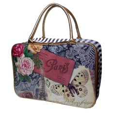 Tas Koper Travel Bag Tote Model Terbaru Motif Paris Bunga - Gold