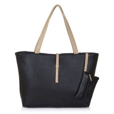 Tas Wanita Import Batam Branded Model Terbaru Kulit Korea Mode Fashion PU Leather Tote Shoulder Handbag Bags - Hitam
