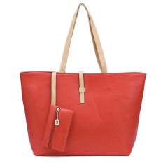 Tas Wanita Selempang Import Batam Branded Model Terbaru Kulit Korea Mode Fashion PU Leather Tote Shoulder Handbag Bags - Merah