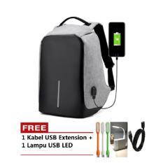 Tas Model XD Ransel Backpack Anti Theft / Maling Laptop Bag Punggung FREE LAMPU USB LED
