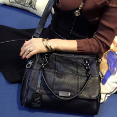 Spesifikasi Tas Tangan Wanita Kulit Lembut Boston Hitam Hitam Yang Bagus Dan Murah