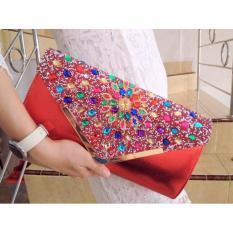 Tas Pesta Clutch Import Swalovski Dompet Pesta Wanita RED Merah 2851064