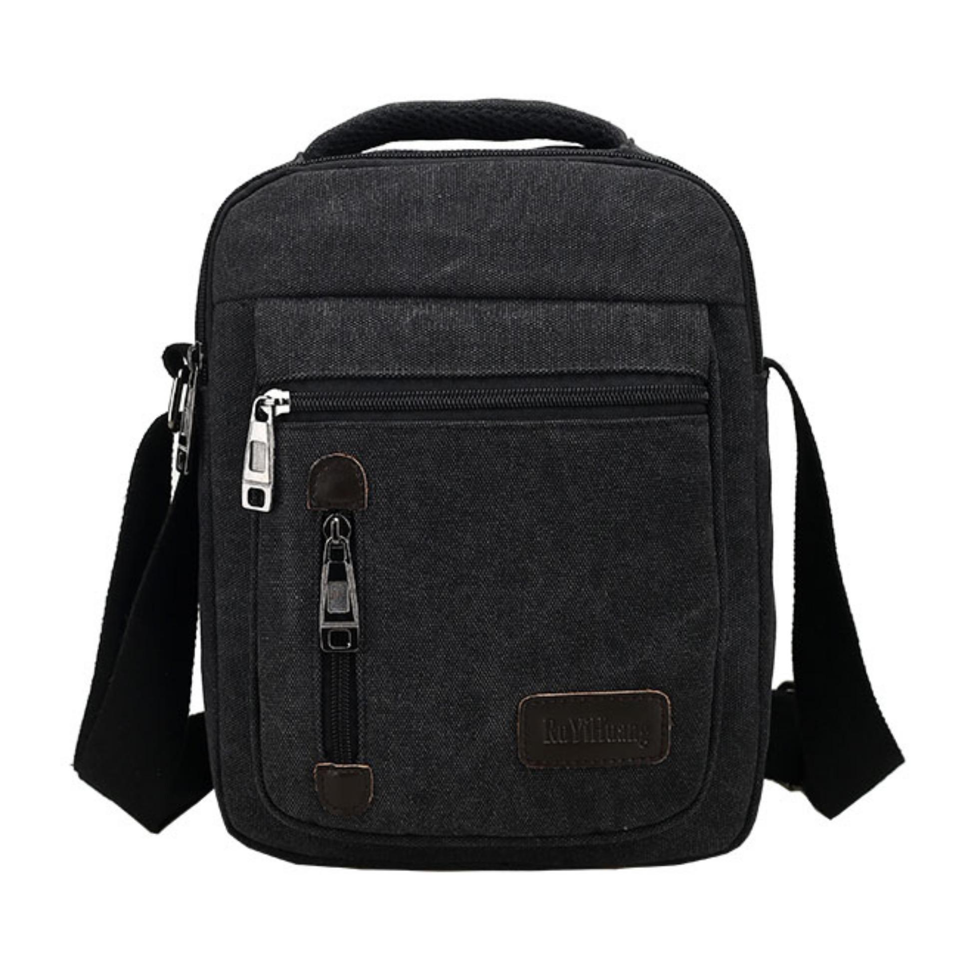 Color Khakis or Black Tas Pria Import Batam Model Terbaru D7007 Men Messenger Shoulder Outdoor Travel Bag Black