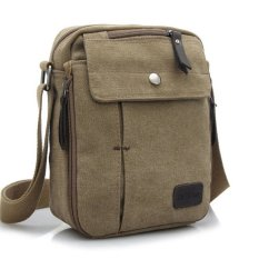 Tas Pria Import Batam Branded Model Terbaru Men Vintage Canvas Multifunction Travel Satchel Messenger Shoulder Bag - Khaki