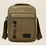 Beli Tas Pria Men Vintage Canvas Multifunction Travel Satchel Messenger Shoulder Bag Coklat Cicilan