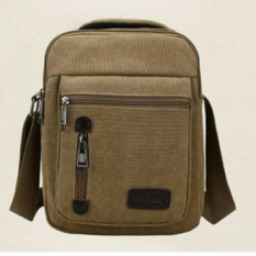 Diskon Tas Pria Men Vintage Canvas Multifunction Travel Satchel Messenger Shoulder Bag Coklat Branded