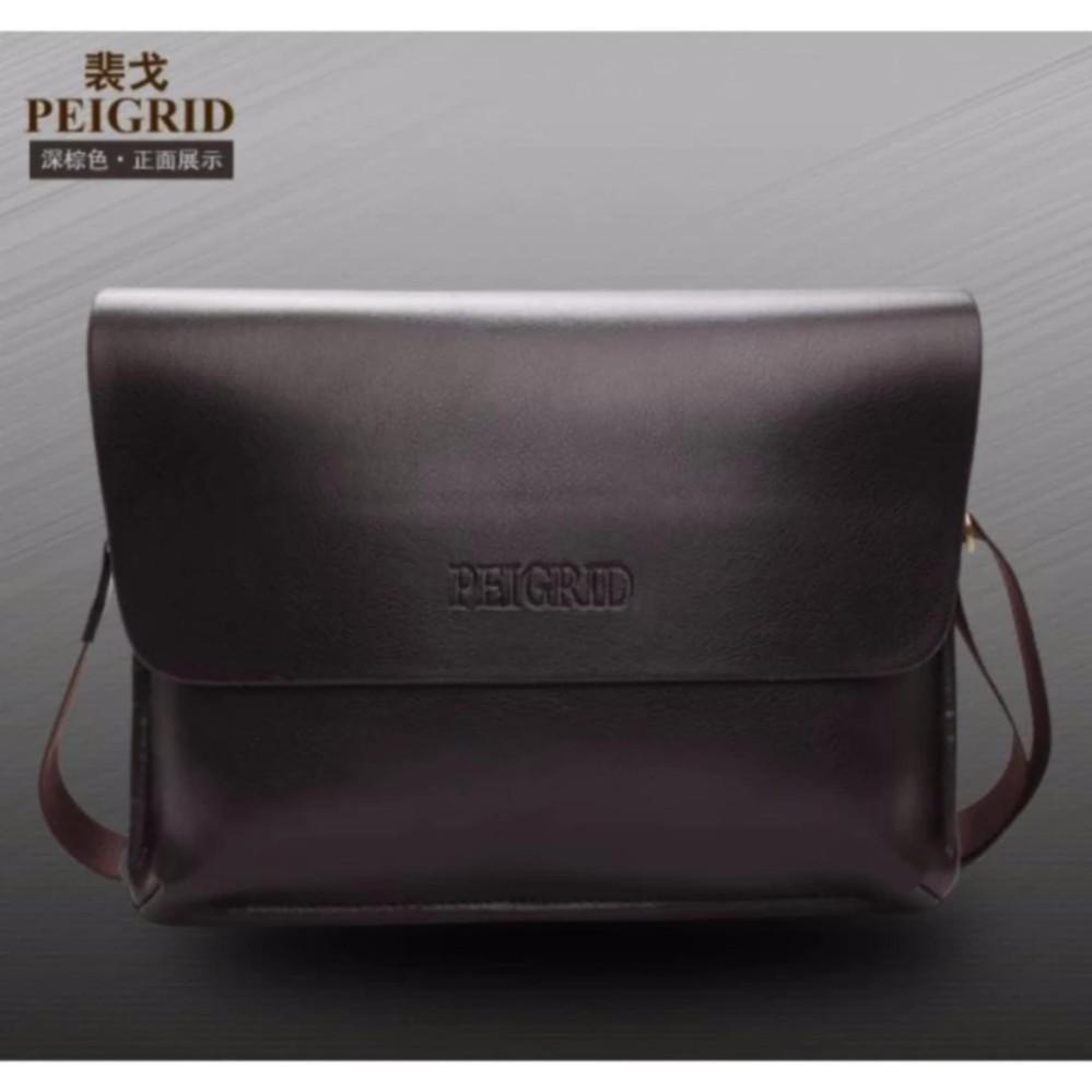 Tas Pria Multifungsi Kulit Selempang Sling Bag Messenger Crossbody Peigrid  - Brown 3eda8c03e8