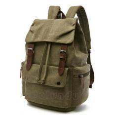 Tas Punggung Kanvas Zou Lun Duo 6048 [Green Army] - Mugu Bag - Tas Serut - Tas Kerja - Tas Sekolah - Tas Kuliah - Tas Laptop - Tas Wanita - Tas Pria