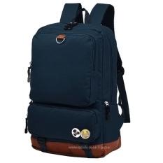 Diskon Tas Punggung Ransel Backpack Tas Sekolah Travel Bag 3P Fashion Bag Navy Blue Akhir Tahun