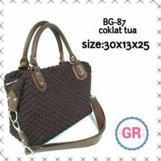 Tas Rajut Wanita Coklat Handbag Fashion Handmade Asli Jogja Bahan Nilon Murah Berkualitas
