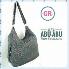 Tas Rajut Wanita RKL Grey Shoulder Bag Slempang Handmade Asli Jogja Bahan Nilon Murah Berkualitas