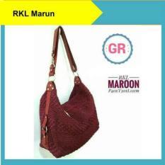 Tas Rajut Wanita Shoulder Bag Nilon RKL Maroon Handmade Asli Jogja