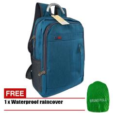 Tas Ransel 17 Inchi Bahan Polyester Kanvas Bruno Polo 6619 Original - Blue