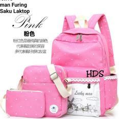 Tas Ransel Backpack Lucky Man Polkadot  3in1 Multifungsi Pink Best Seller