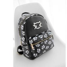 Tas Ransel Backpack Wanita Import Motif Kucing Cat Lucu - Hitam