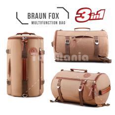 Tas Ransel Braun Fox Canvas Tabung 3in1 Multifungsi Outdoor Man Canvas Backpacker Tas Pria Fitness Gym Olahraga - Coklat Muda Tas Jinjing Tas Selempang Tas Fashion Pria