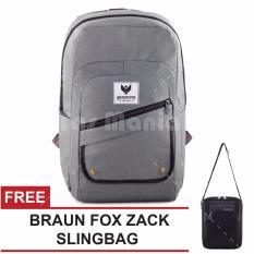 Tas Ransel Braun Fox Jester X Casual Dailypack Laptop Backpack - Grey + FREE Tas Selempang Braun Fox Zack Slingbag  Tas Pria Tas Bahu Tas Messenger Tas Slempang Crossbody Man Tas Fashion Pria