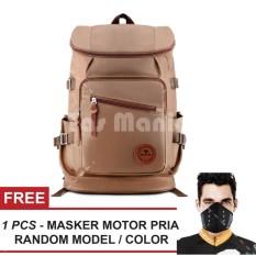 Tas Ransel Braun Fox Shimon Travel Tas Laptop Backpack Outdoor Man Canvas Large Backpacker Man - Coklat Muda + FREE Masker Motor Pria Tas Pria Tas Sekolah Dailypack Tas Fashion Pria