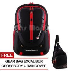 Tas Ransel Pria Gear Bag - Cyborg X23 Tas Laptop Backpack - Black Red + Raincover + FREE Gear Bag Excalibur Crossbody Promo Diskon Murah Tas Laptop Kerja Kantor Kuliah Anti Air Eiger Rei Consina North Face Deuter Bodypack Termurah Terlaris Best Seller