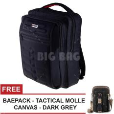 Tas Ransel Gress Emboss Infinity Tas Laptop Backpack - Hitam + FREE Tas Selempang Baepack Tactical Molle CANVAS - Dark Grey Tas Kerja Tas Messenger Tas Slempang Tas Fashion Pria