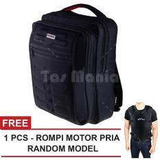 Tas Ransel Gress Emboss Tas Laptop Backpack - Hitam + FREE Rompi Motor Pria Random Model Tas Pria Tas Kerja Tas Fashion Pria