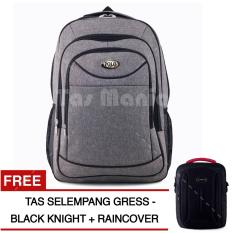 Tas Ransel Petal Premium CX-029 Tas Laptop Backpack - LIGHT GREY + Raincover + FREE Tas Selempang Gress Black Knight Tas Pria Tas Kerja Tas Messenger Tas Slempang Tas Fashion Pria