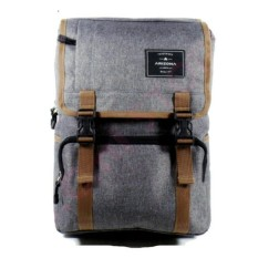 Tas Ransel Pria Arizona Backpack Korean style Import Vintage/ Design 17 Inchi 1503-17 ZV Polyester Canvas - Grey+RainCover Waterprooff