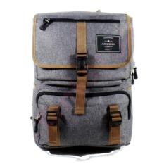 Tas Ransel Pria Arizona style Vintage Design - 17 Inchi 1504-17 ZV Polyester Canvas - Grey +RainCover Waterprooff