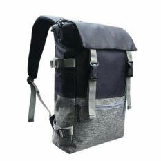 Backpack Tas Ransel Pria Korean Unisex Import Design 17 Inchi 2914-17 ZV Polyester Canvas - Black + Raincover Waterprooff