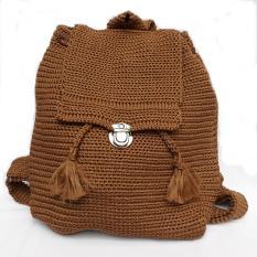 Tas Ransel Rajut Polos Mini Backpack Coklat