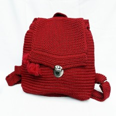 Tas Ransel Rajut Polos Mini Backpack Merah Maroon