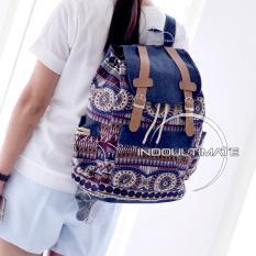 Review Toko Ultimate Tas Backpack Unisex Pria Wanita Punggung Ransel Kuliah Fancy Etnic Korean Bag Js 017 14 Blue Online