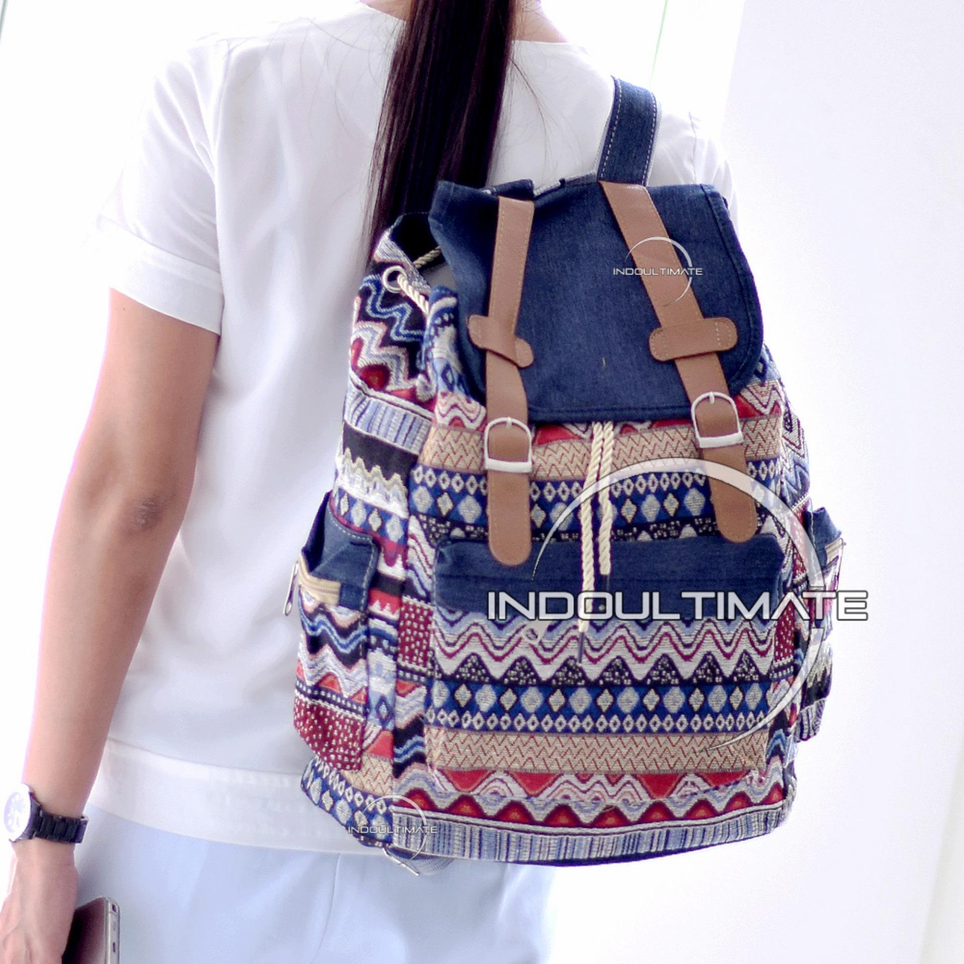 Ultimate Tas Backpack Unisex Pria Wanita   Punggung   Ransel Kuliah Fancy  Etnic   Tas Sekolah cca740962b