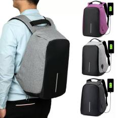 Spek Tas Ransel Usb Port Charger Smart Backpack Anti Air Anti Maling Thief Grey Fun Collection