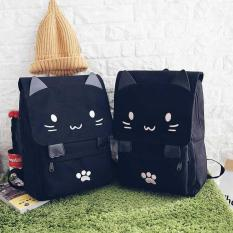 Rimas Tas Ransel Wanita Model Cat Cartoon - Black / Hitam Bag Backpack Kucing Lucu Unik Berkualitas