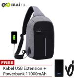 Jual Beli Online Tas Selempang Anti Maling Usb Port Xd Sling Bag Free Powerbank Grey