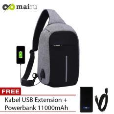 Jual Tas Selempang Anti Maling Usb Port Xd Sling Bag Free Powerbank Grey Fashion Bags Asli