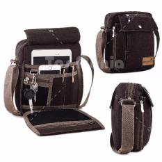 Tas Selempang Braun Fox Canvas Pria Multifunction Messenger Shoulder Bag - Dark Brown Tas Pria Tas Bahu Tas Slempang Crossbody Man Tas Fashion Pria