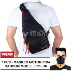 Tas Selempang Gear Bag Slingbag Army Air Force - Black + FREE Masker Motor Tas Pria