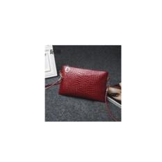 Tas Selempang Mini Sling Bag Wanita Motif Crocodile - Maroon