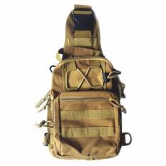 Tas Selempang Outdoor Military Tactical Duffel Backpack Bodypack Pria Men Sling Bags Tas Bahu Slempang Shoulder Bag Bahan Kuat Ringan Kerja Sekolah Kuliah Travel Stylish Banyak Kantong Sekat Space Besar Buku iPad Smartphone Handphone Dompet K026 - Coklat