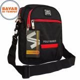 Beli Tas Selempang Pria 10 Inchi Polo Search Strip Warna Material Nylon Waterproof Black Red Kredit
